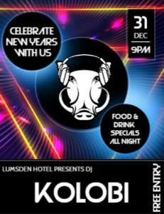 Come & Celebrate New Years With Us. Karaoke To Kick Off With Starting @ 7pm, Followed By DJ Kolobi @ 9pm With His Drum & Bass And House Music. Accommodation Available As Well As Food & Drink Specials All Night.